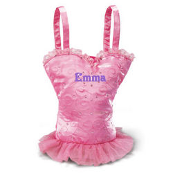 Personalized Pink Satin Ballerina Tutu Dance Bag