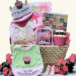 Baby Girl's 1st Birthday Large Gift Basket