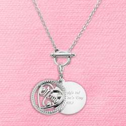 Mom Coin Charm Necklace