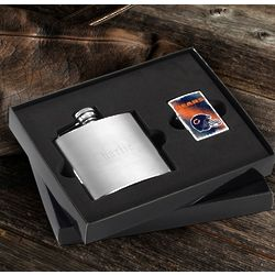 Chicago Bears Zippo Lighter and Personalized Flask Gift Set