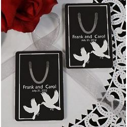 Personalized White Doves Wedding Favor Bookmark
