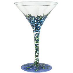 Blueberry-tini Hand Painted Martini Glass