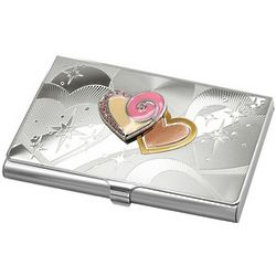 Personalized Business Card Holder with Pink Hearts