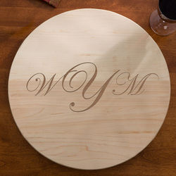 Raised Monogram Wooden Lazy Susan