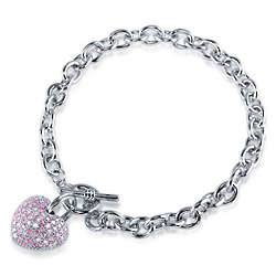 Pink CZ Silvertone Puffed Heart Charm Toggle Bracelet