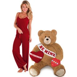 Be Mine Teddy Bear with Pillow, Chocolate, and Loungewear