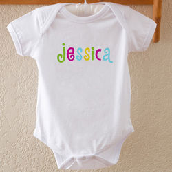 Hot Pastel Design Personalized Baby Bodysuit
