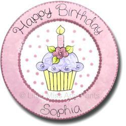 "11"" Flower Cupcake Design Personalized Birthday Plate"