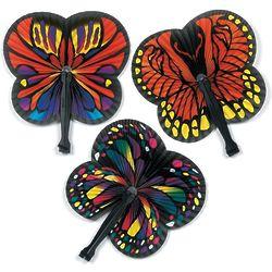 12 Monarch Butterfly-Shaped Folding Hand Fans
