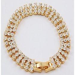 Flexible Rhinestone Three Row Bracelet