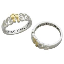 Sterling Silver Two-tone Footprints Sentiment Ring