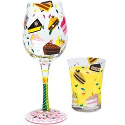 Hand-Painted Birthday Cake Wine Glass & Soy Candle Gift Set