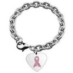 Personalized Pink Ribbon Charm Bracelet