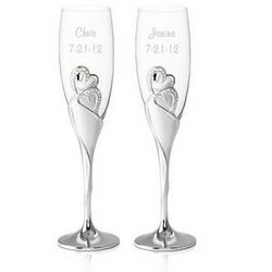 Personalized Wedding Romance Champagne Toasting Flutes