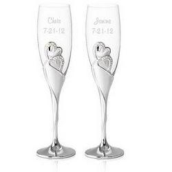 Personalized Wedding Romance Champagne Toasting Flutes