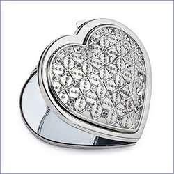 Crystal Heart Compact Mirror