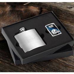 Indianapolis Colts Zippo Lighter and Personalized Flask Gift Set