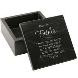 Personalized Black Marble Keepsake Box for Dad