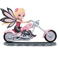 Breast Cancer Support Fairy on a Pink Motorcycle Figurine