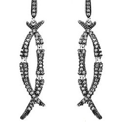 Silver Skyfall Black Bamboo CZ Earrings