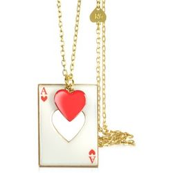 Red Heart Necklace with Card Charm