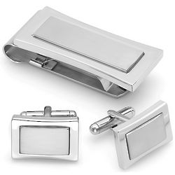 Two-Tone Stainless Steel Money Clip and Cufflinks