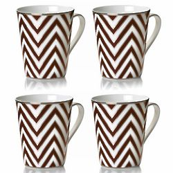 Brown Gold Zigzag Coffee Mugs