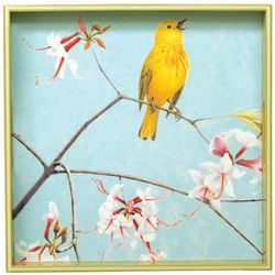 Yellow Warbler with Wild Azalea Blooms Serving Tray