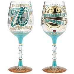 70th Birthday Hand Painted Wine Glass