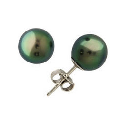 Natural Tahitian Round Pearl Stud Earrings 14K White Gold