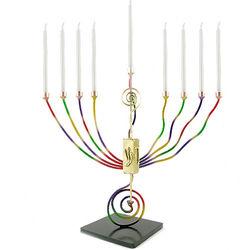 Handcrafted Brass Rainbow Menorah and Dreidel