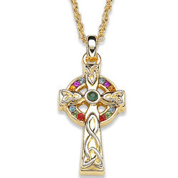 Celtic Cross Crystal Rainbow Pendant