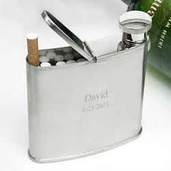 Flask with Cigarette Holder