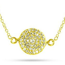 Kate Middleton Inspired Gold Round Pave CZ Necklace