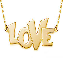 Funky Gold Plated Love Pendant