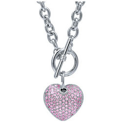 Pink Cubic Zirconia Silvertone Puffed Heart Toggle Necklace