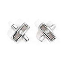 Diamond Kiss Stud Earrings in Silver