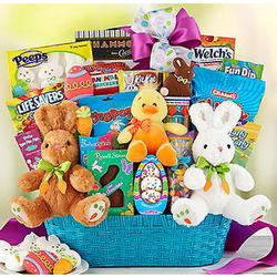 Ultimate Easter Basket with Four Plush Bunnies