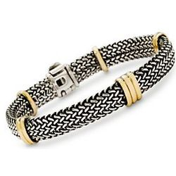18kt Italian Yellow Gold and Sterling Silver Woven Bracelet