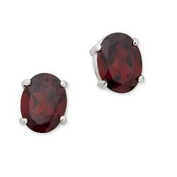 Garnet Oval Earrings in Sterling Silver