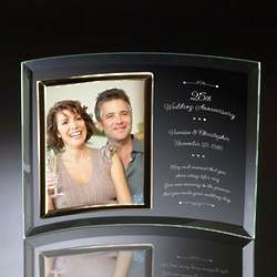 25th Wedding Anniversary Curved Glass Photo Frame
