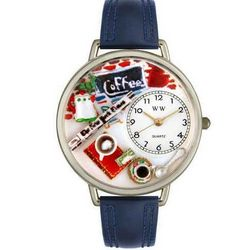 Coffee Lover Watch with Navy Blue Leather Band