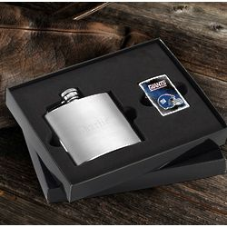 New York Giants Zippo Lighter and Personalized Flask Gift Set