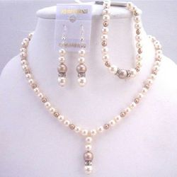 Ivory Champagne Pearls Jewelry Silver Rondells Set
