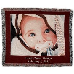 Landscape Custom Photo Blanket with Red Border