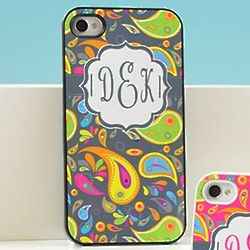 Personalized Black Paisley Print iPhone Case