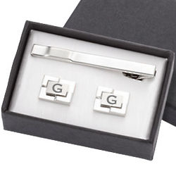 Personalized Geometric Cufflinks and Tie Clip Set