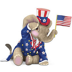O! Say Can You See Peanut Pals Patriotic Elephant Figurine: