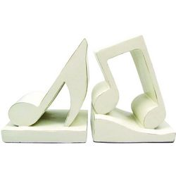 Antique White Musical Note Bookends