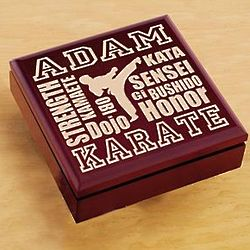 Personalized Wood Karate Trinket Box
